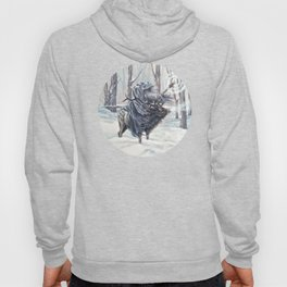 Wizard Riding an Elk in the Snow Hoody