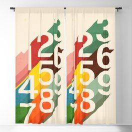 Retro Numbers Blackout Curtain