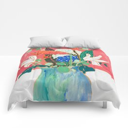 Bouquet of Flowers in Alexandrite Inspired Vase against Salmon Wall Comforters