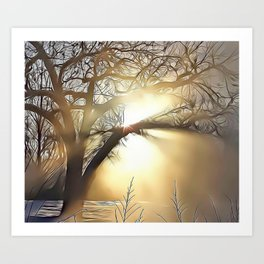 Misty Sunburst Airbrush Artwork Art Print