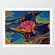 Painted Waterlily Art Print