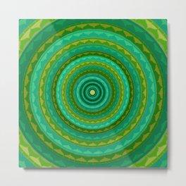 Green jellow mandala Metal Print
