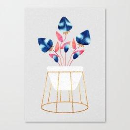 Blue Strawberry Flowers Canvas Print