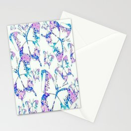 Electric blue, pink and white mandala exo butterfly Stationery Cards