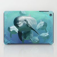 dolphins iPad Cases featuring Dolphins by Lynne Hoad