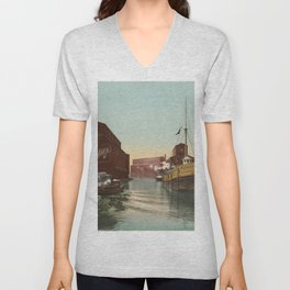 South Branch of the Chicago River at 14th Street 1900 Unisex V-Neck