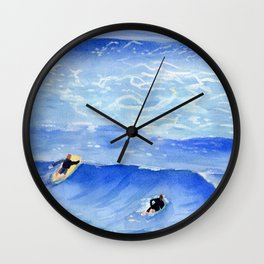Getting ready to take this wave surf art Wall Clock