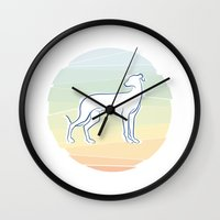 greyhound Wall Clocks featuring Greyhound by tuditees
