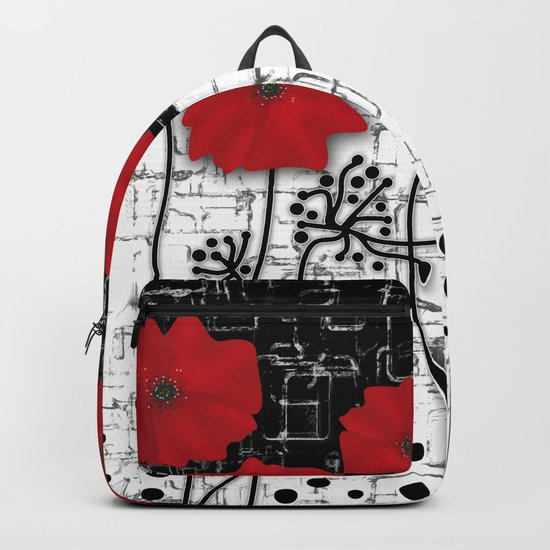 Applique Poppies on black and white background . Backpack