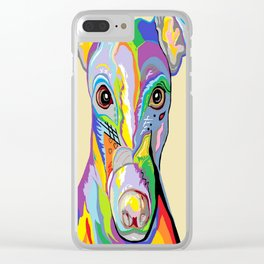 Greyhound Close Up Clear iPhone Case