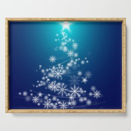 Whimsical Glowing Christmas Tree with Snowflakes in Blue Bokeh Serving Tray