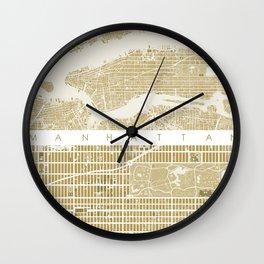 Manhattan NYC map gold Wall Clock
