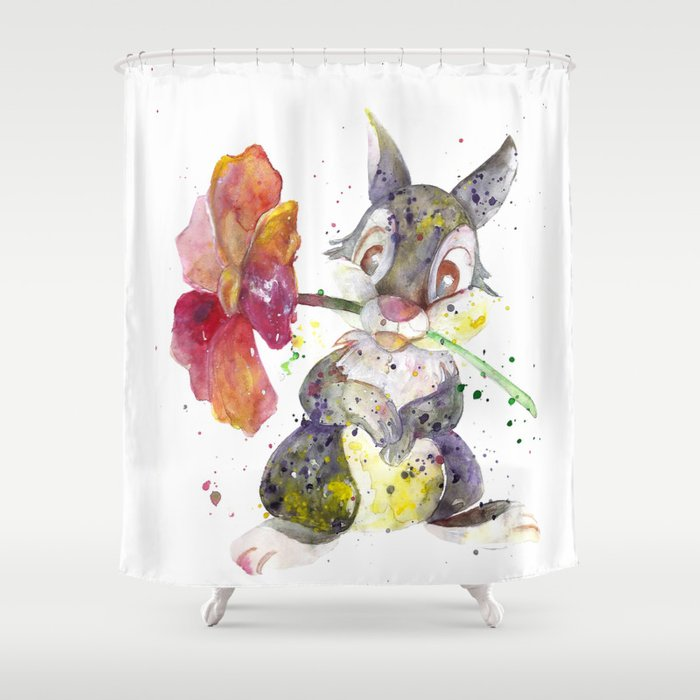 Thumper With Flower Shower Curtain by salomemika | Society6