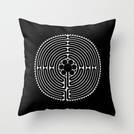 Cathedral of Our Lady of Chartres Labyrinth - Negative Throw Pillow