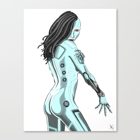 Topless Robot Pinup Style Canvas Print