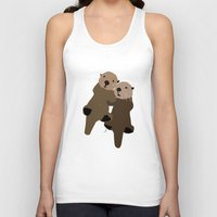 otters Tank Tops featuring Made For Each Otter by Carrie Ambo