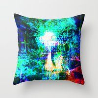 "hologram Throw Pillows featuring "" The voice  is a second face"" by shiva camille"