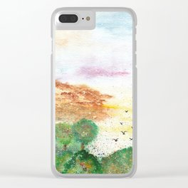 Let's Fly Away Watercolor Painting Clear iPhone Case