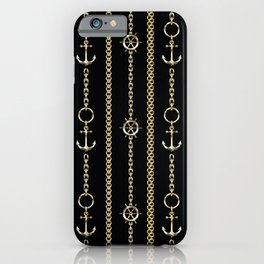 Gold chains on black. iPhone Case