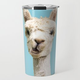 Cute alpaca portrait on blue sky illustration Travel Mug