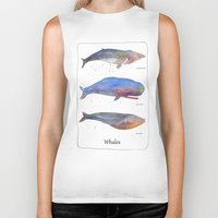 whales Biker Tanks featuring Whales by Lene Daugaard
