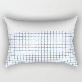 Dotted Grid Boarder Blue on White Rectangular Pillow