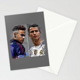 neymar jr and cristiano ronaldo Stationery Cards