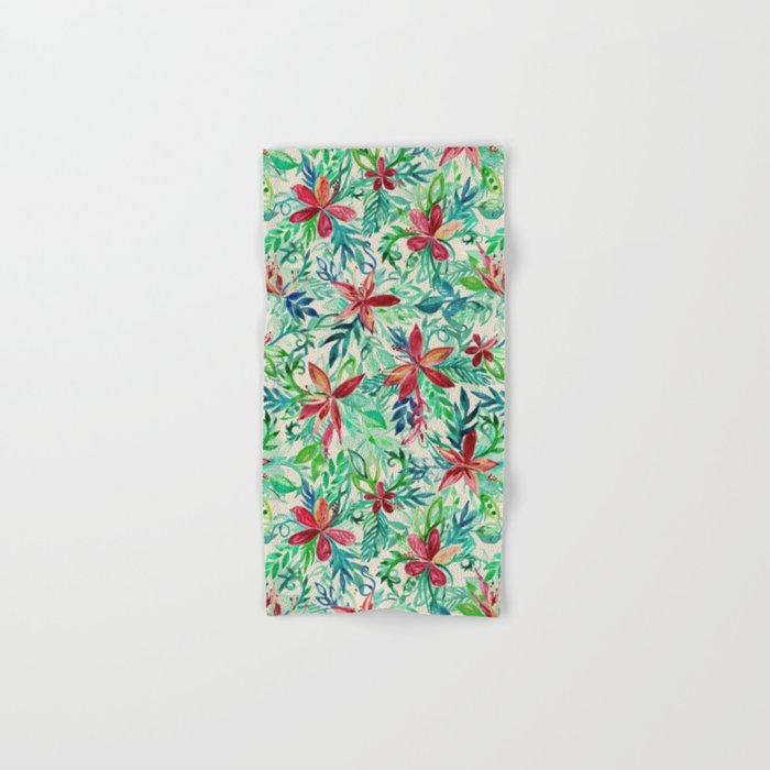 Vintage Tropical Floral - a watercolor pattern Hand & Bath Towel