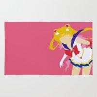 sailor moon Area & Throw Rugs featuring Sailor Moon by Polvo