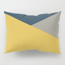 Envelope - Minimalist Geometric Color Block in Light Mustard Yellow, Navy Blue, and Gray Pillow Sham