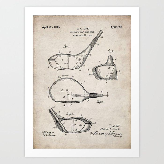 Golf Driver Patent - Golf Art - Antique Kunstdrucke