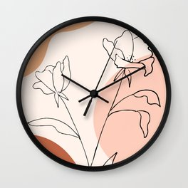 Poppies line drawing Wall Clock