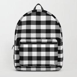 Jumbo Jet Black Gingham Check Square Pattern Backpack