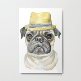 Pug with Fedora Hat Watercolor Metal Print