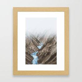 Mountain blue river Framed Art Print