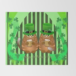 Sint Patrick's day cat with green top hat and drinking beer Throw Blanket
