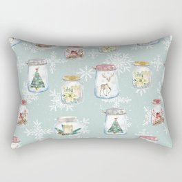 Christmas Jars Mint Rectangular Pillow