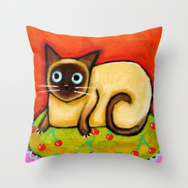 Siamese cat nervous siamese kitty on a cherry pillow art by Tascha Throw Pillow