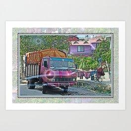 KATHMANDU NEIGHBORHOOD THROUGH CRACKED WINDSHIELD  Art Print