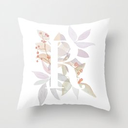 Rustic Initial R - Watercolor Letter Branches and Leaves Monogram Throw Pillow