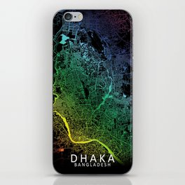 Dhaka, Bangladesh, City, Map, Rainbow, Map, Art, Print iPhone Skin