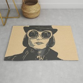 Charlie and the Chocolate Factory Willy Wonka Artistic Illustration Stamp Style Rug