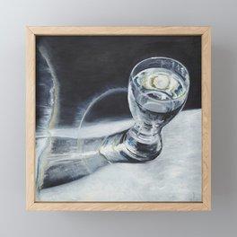 Glass of the water in the light Framed Mini Art Print