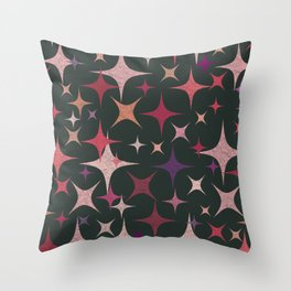 Purple, Red, Pink and White Stars in Dark Green Throw Pillow