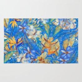 My Blue Aloha Tropical Flower Hibiscus Garden on #Society6 Rug