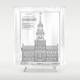 Independence Hall Blueprint Schematics Shower Curtain