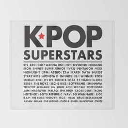 KPOP Superstars Original Boy Groups Merchandse Throw Blanket