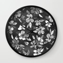 Blossoms on Charcoal Ink Wall Clock