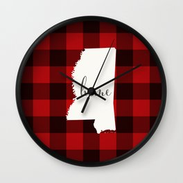 Mississippi is Home - Buffalo Check Plaid Wall Clock