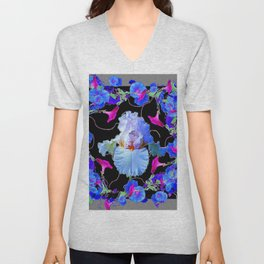 BLUE MORNING GLORIES & WHITE IRIS  SPRING  GARDEN ART Unisex V-Neck